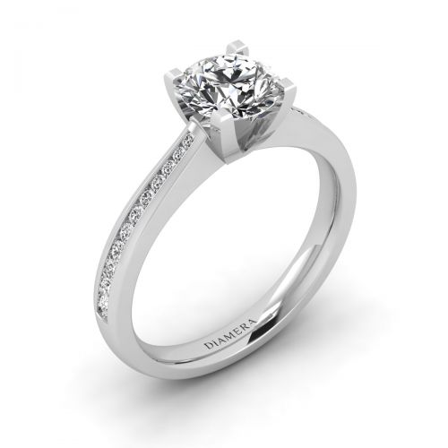 18K White Gold Carissa Pave Engagement Ring with 1.2 Carat Round Diamond