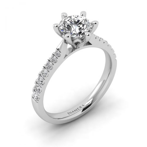 18K White Gold Giselle Pave Engagement Ring