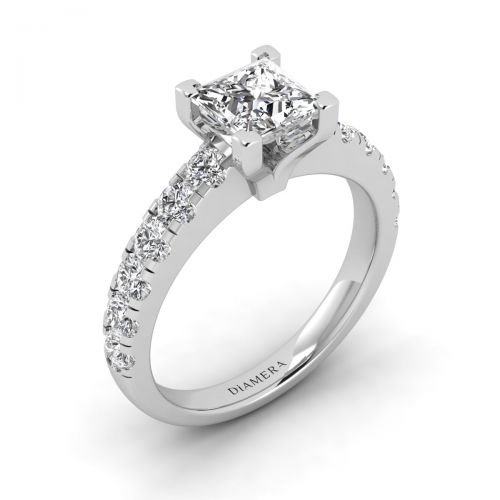 18K White Gold Kendra Pave Engagement Ring with 1.2 Carat Oval Diamond