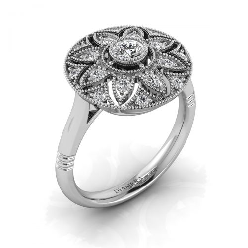 18K White Gold Ancien Brillante Art Deco