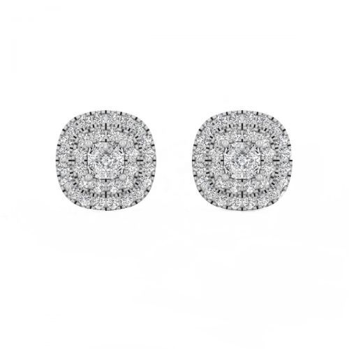18K White Gold Vibrant Princess Diamond Stud Earrings