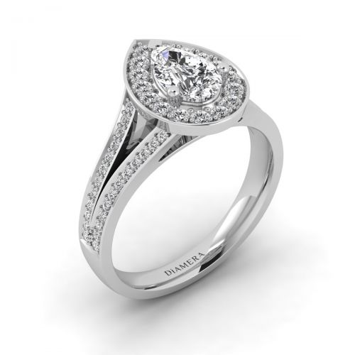 18K White Gold Halo Pear Engagement Ring