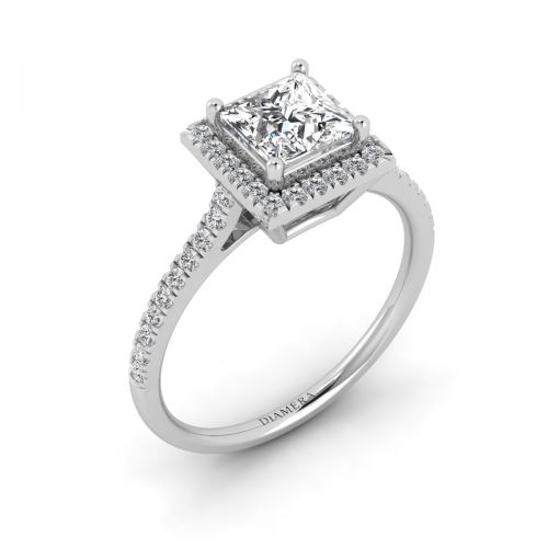 Chic Princess Halo Engagement Ring