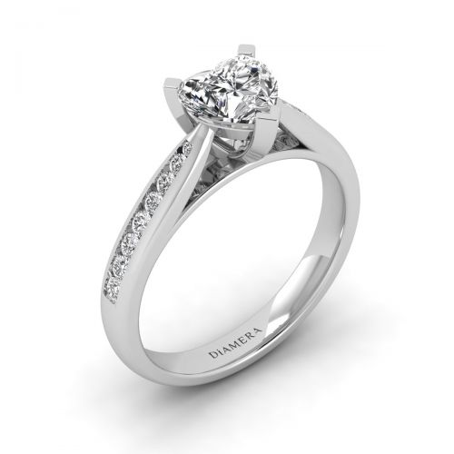18K White Gold Charmant Pave Engagement Ring