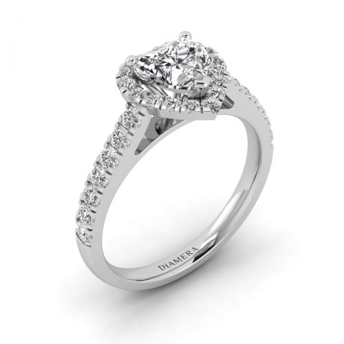 18K White Gold Lovely Halo Engagement Ring