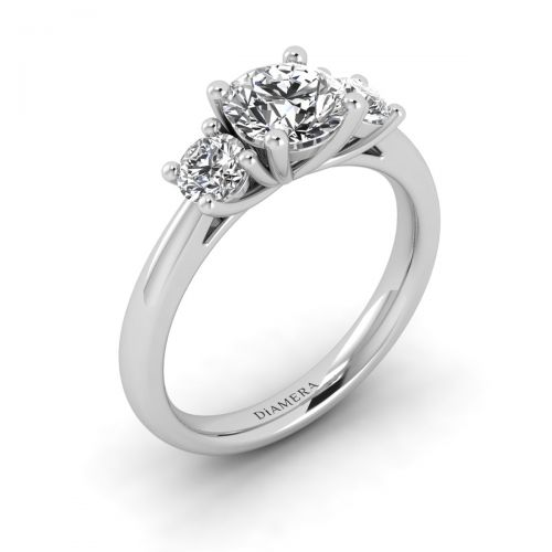 18K White Gold Alluring Trio Stone Engagement Ring with 0.24 Carat Round Diamond