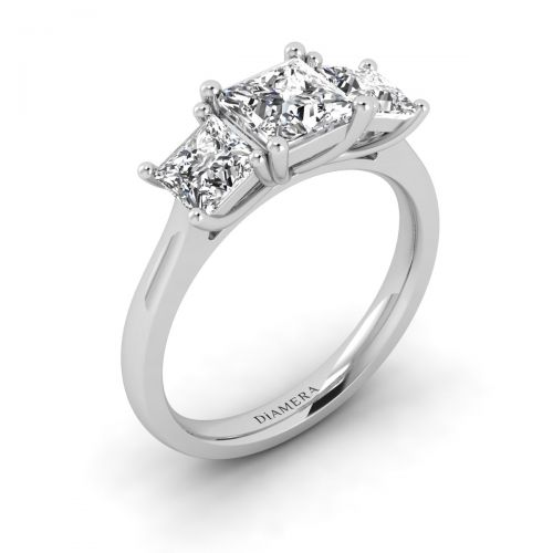 18K White Gold Trio Princess Engagement Ring