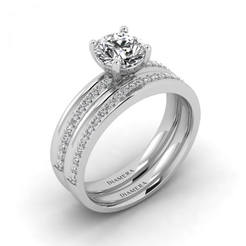 18K White Gold Gracious Round Diamond Bridal Set Engagement Ring