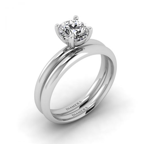 18K White Gold Classic Round Cut Bridal Set Engagement Ring