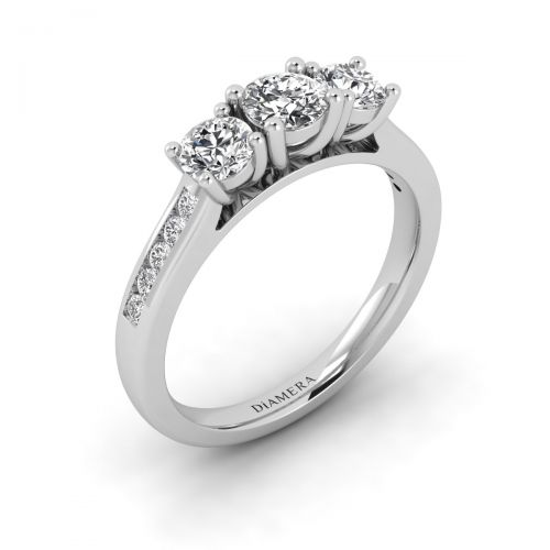 18K White Gold Triple Diamond Engagement Ring with 0.23 Carat Round Diamond