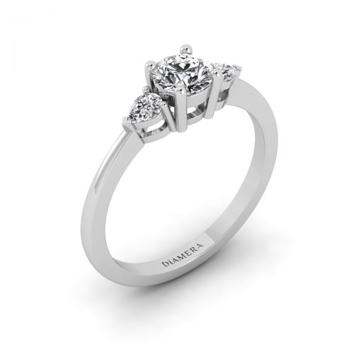 18K White Gold Three Stone Leaf Engagement Ring