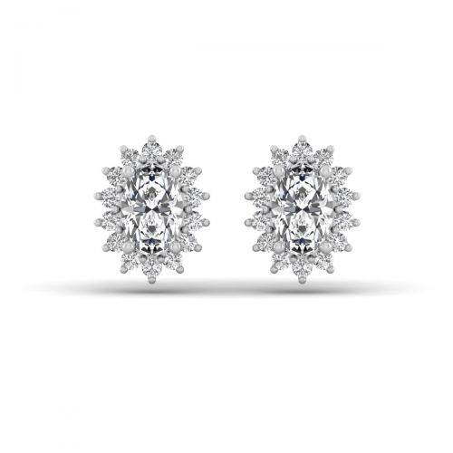 18K White Gold Sparkling Sunburst Diamond Stud Earrings