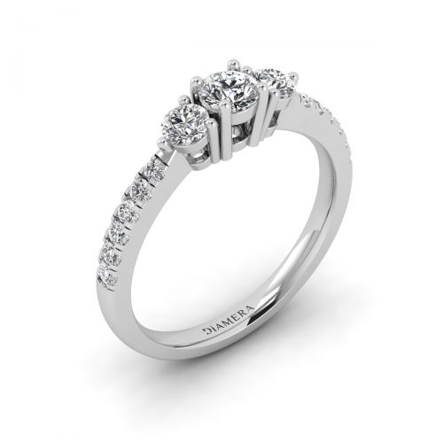 18K White Gold Chic Three Stone Engagement Ring