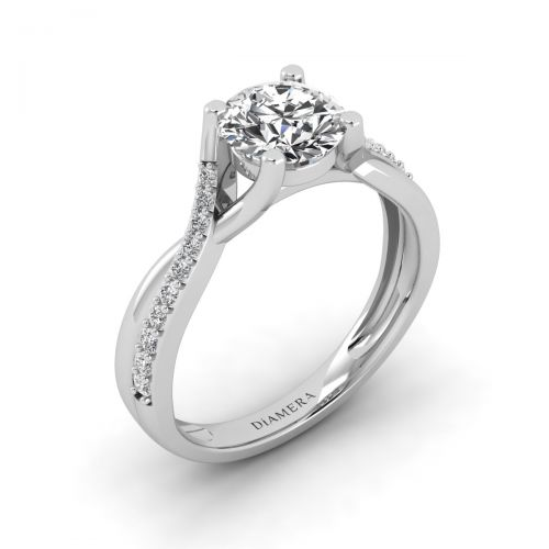 Francine Solitaire Engagement Ring with 0.24 Carat Round Diamond