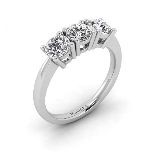 18K White Gold Trio Sparkle Round Engagement Ring