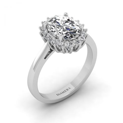 18K White Gold Halo Sunburst Engagement Ring