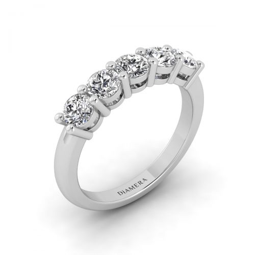 18K White Gold Alluring Five Stone Diamond Ring