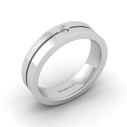 18K White Gold Titanium Classic Round Cut Wedding Ring