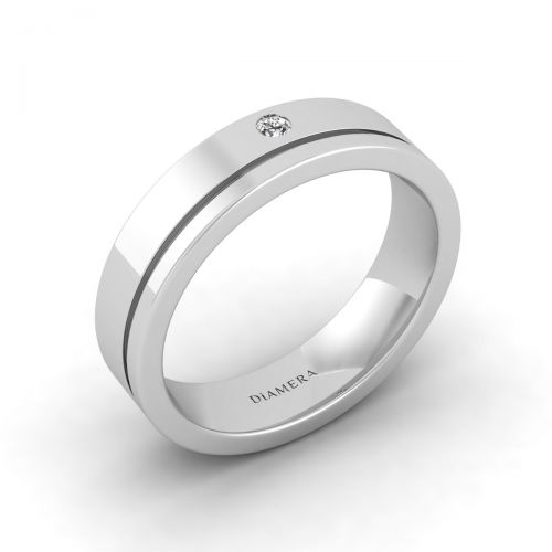 18K White Gold Classic Round Edge Wedding Ring