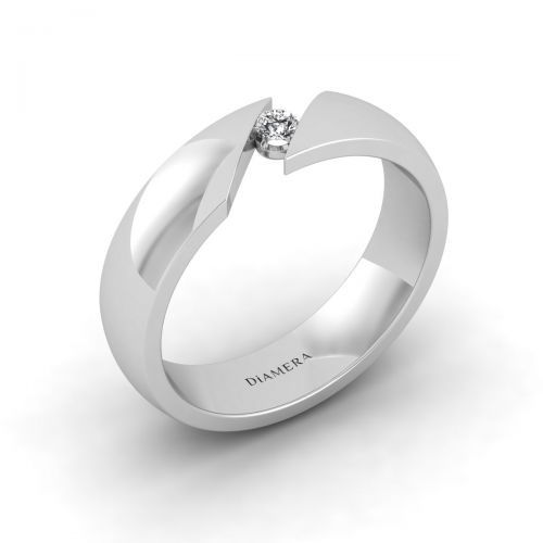 18K White Gold Elegant Tension Set  Wedding Ring