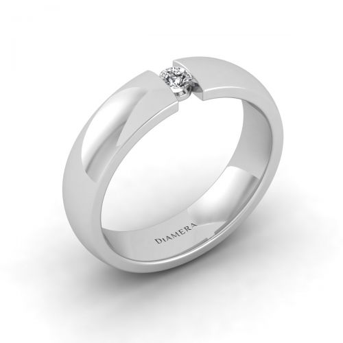 18K White Gold  Classic Tension Set Wedding Ring