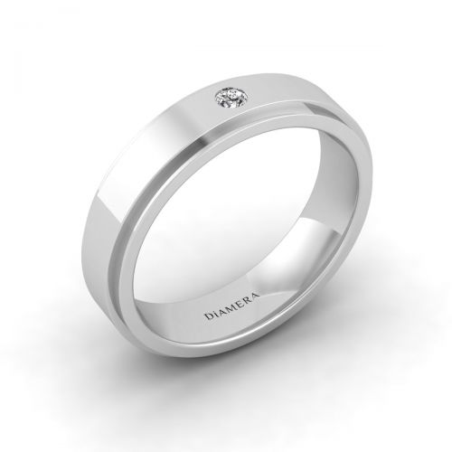 18K White Gold Classic Round Cut Edge Ring