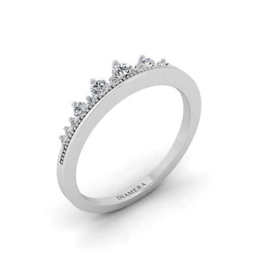 18K White Gold Crown Wedding Diamond Ring