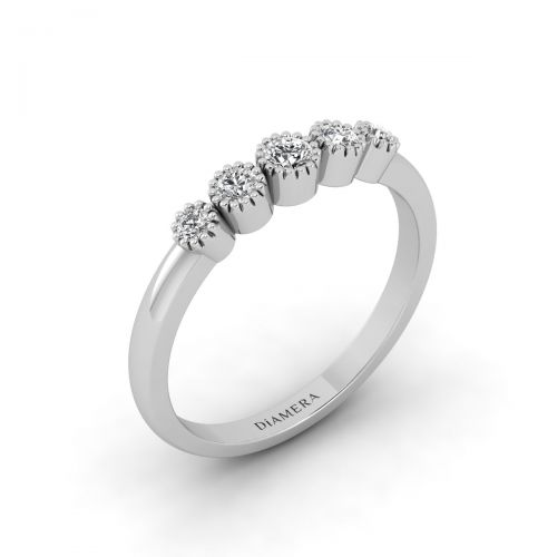 18K White Gold Glimmer Whimsical Diamond Ring
