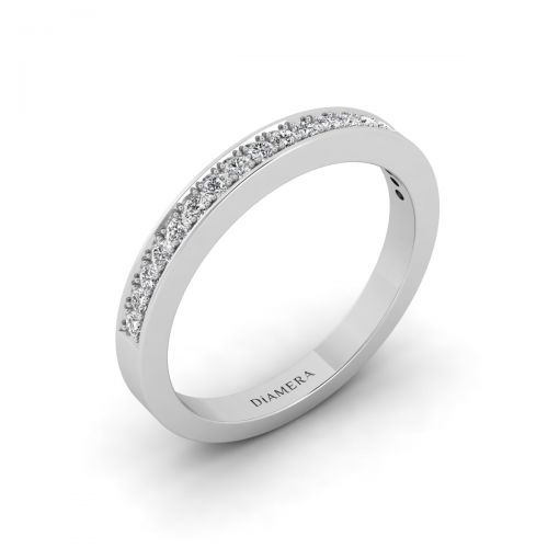 18K White Gold Trendy Half Eternity Wedding Ring