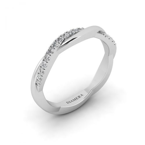 18K White Gold Twirl Vine Wedding  Ring