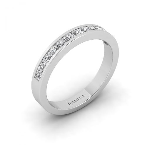 18K White Gold Half Eternity Princess Wedding Ring