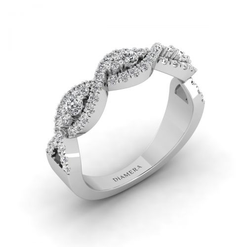 18K White Gold  Blossom Twisted  Wedding Ring