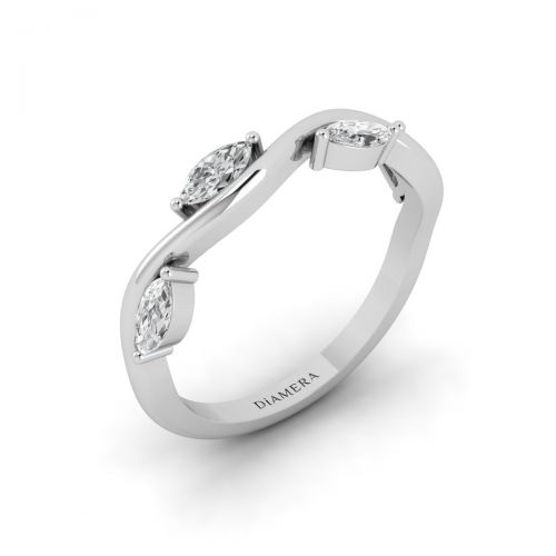 18K White Gold Marquise Wave Diamond Ring
