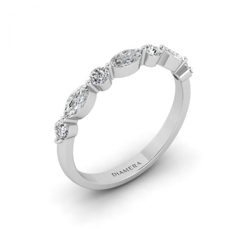 18K White Gold Marquise Chic Wedding Ring