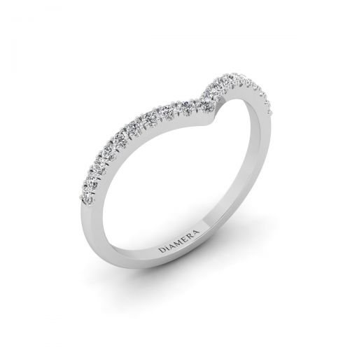 18K White Gold Chevron Charm Wedding Ring