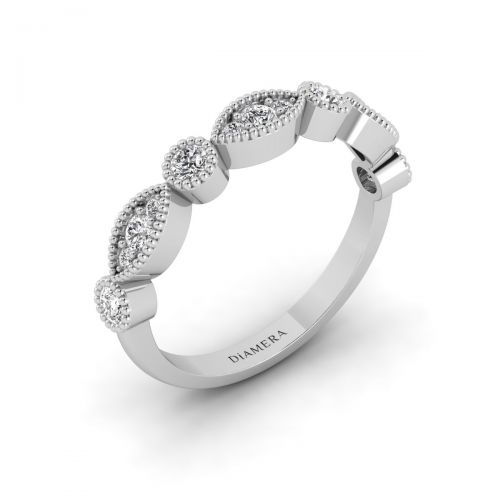 18K White Gold Marquise Tiara Wedding Ring