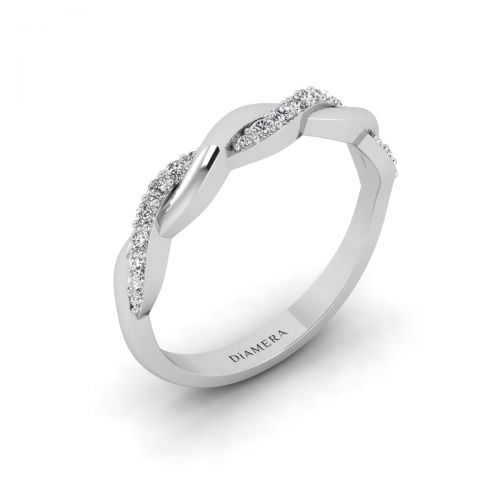 18K White Gold  Petite Intertwined  Wedding Ring