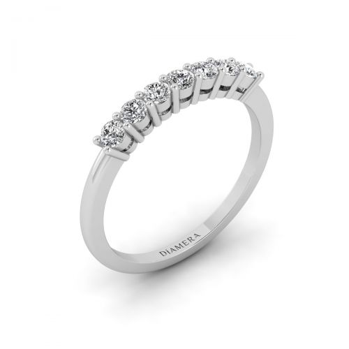 18K White Gold Classico Siete Diamond Ring