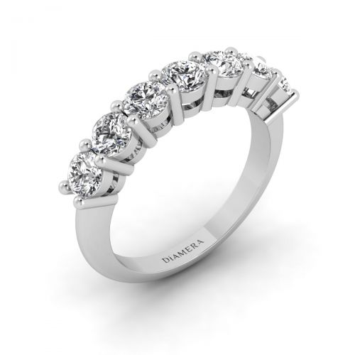 18K White Gold Seven Dazzling  Diamond Ring