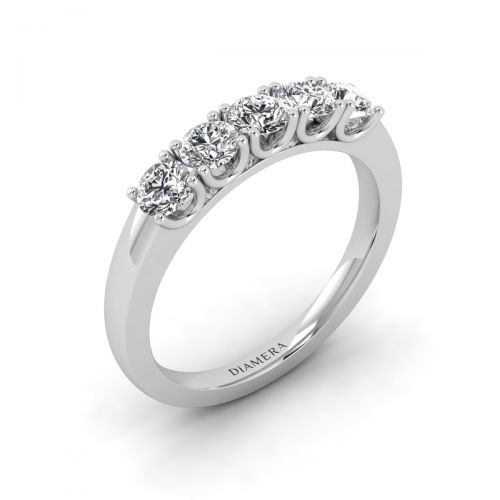 18K White Gold Timeless Five  Diamonds  Ring