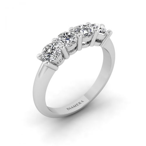 18K White Gold Lovely Quattro Stone Diamond Ring