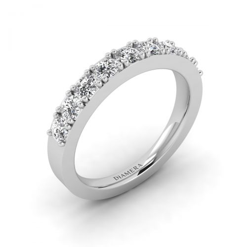 18K White Gold Glittery Posie Wedding Ring