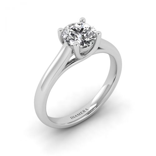 18K White Gold Quincy Solitaire Engagement Ring
