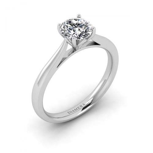 18K White Gold Beatrice Solitaire Engagement Ring with 0.32 Carat Round Diamond