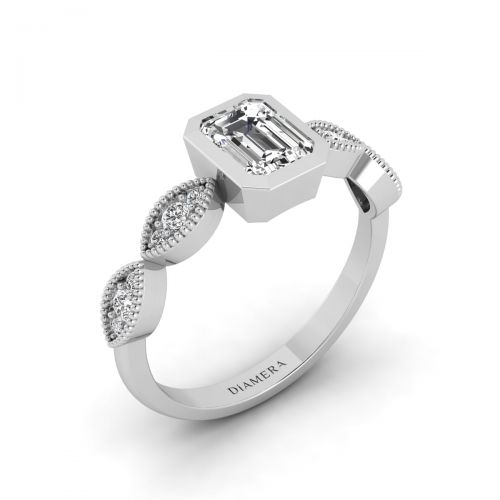 18K White Gold Sparkling  Milgrain Band Art Deco