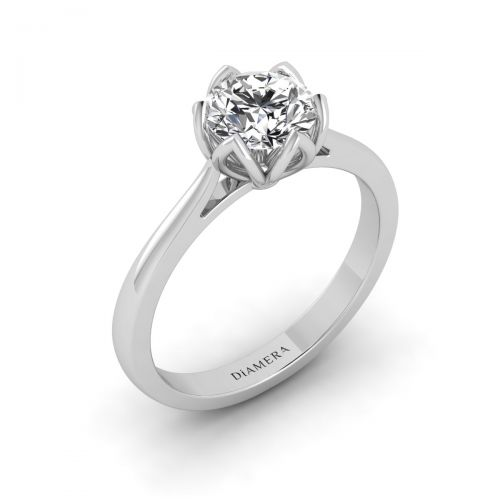18K White Gold Precious Solitaire Engagement Ring