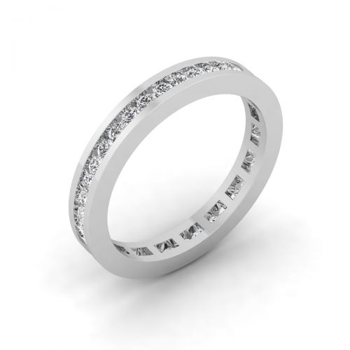 18K White Gold Luxe Round Eternity Wedding Ring - 0.74 ct.