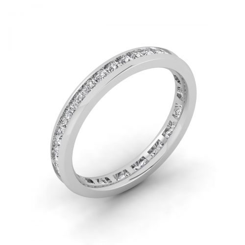 18K White Gold Lavish Princess Eternity Ring