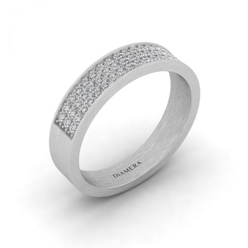 18K White Gold Trinity Pave  Set Eternity Ring