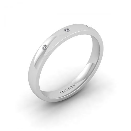 18K White Gold Petite Trio Diamond Set Wedding Ring